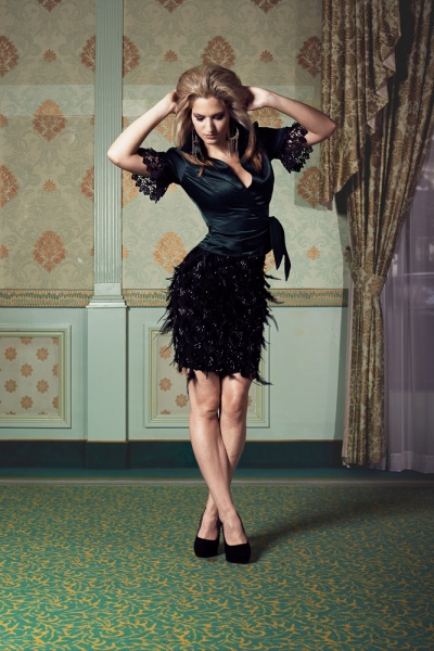 Satin wrap around blouse with short sleeves and lace detail/Silk feather skirt