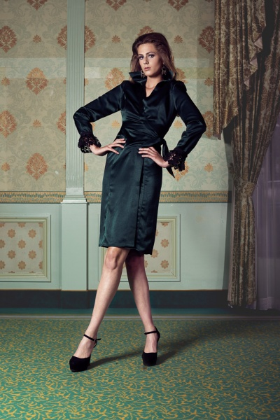 Satin wrap around dress with lace cuffs