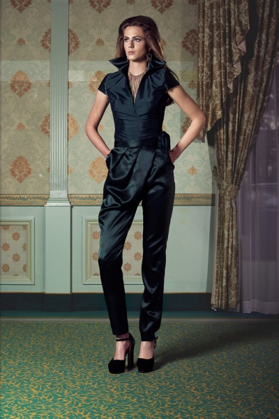 Satin trouser with short sleeve wrap around blouse