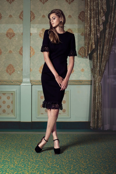 Black overknee dress with lace details